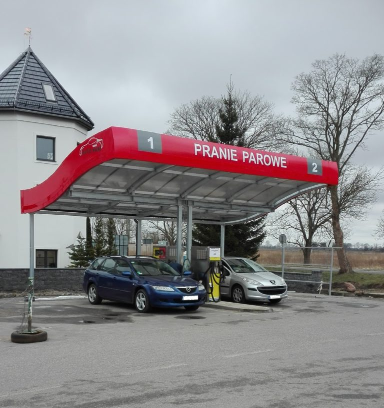 A new car wash in Kamen Pomorski, two-station with a roof.